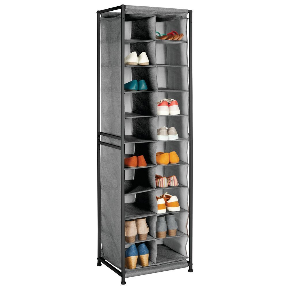 20 Compartment Vertical Fabric Shoe Rack Floor Stand In Espresso 13 5 X 17 5 X 60 75 By Mdesign In 2020 Shoe Rack Closet Storage Cube Storage Shelves