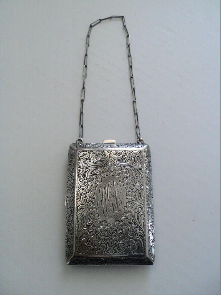 Silver Compact  Dance Purse Antique WM co