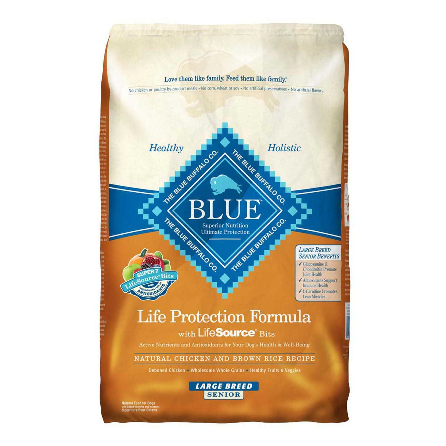 Blue buffalo chicken brown rice large breed senior dry