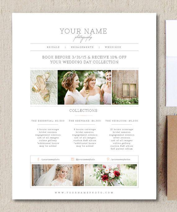 INSTANT DOWNLOAD! Photography Marketing Set - Wedding Photographer - wedding flyer