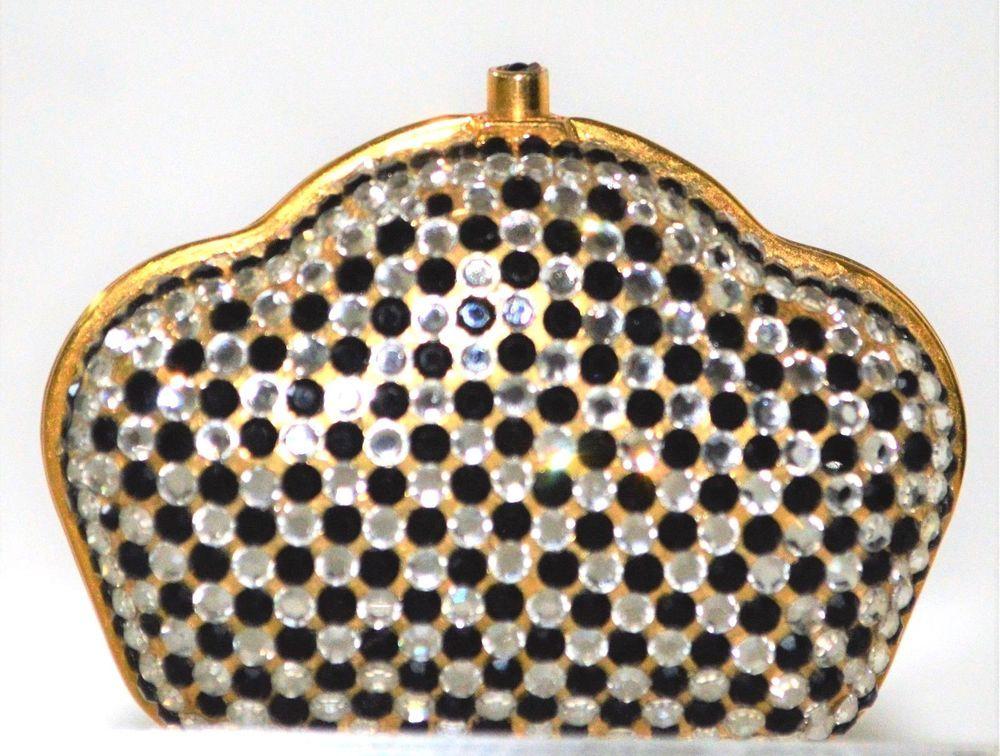 e21a848b74781 Judith Leiber PillBox Scalloped Curve top Crystal Vintage Black Rhine  Vintage  JudithLeiberLieberDesignerCouture  Vintage