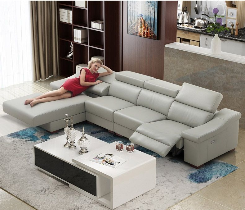 Living Room Sofa Set L Corner Sofa Recliner Electrical Couch Genuine Leather Sectiona In 2020 Sectional Sofa With Recliner Living Room Sofa Set Leather Sectional Sofas