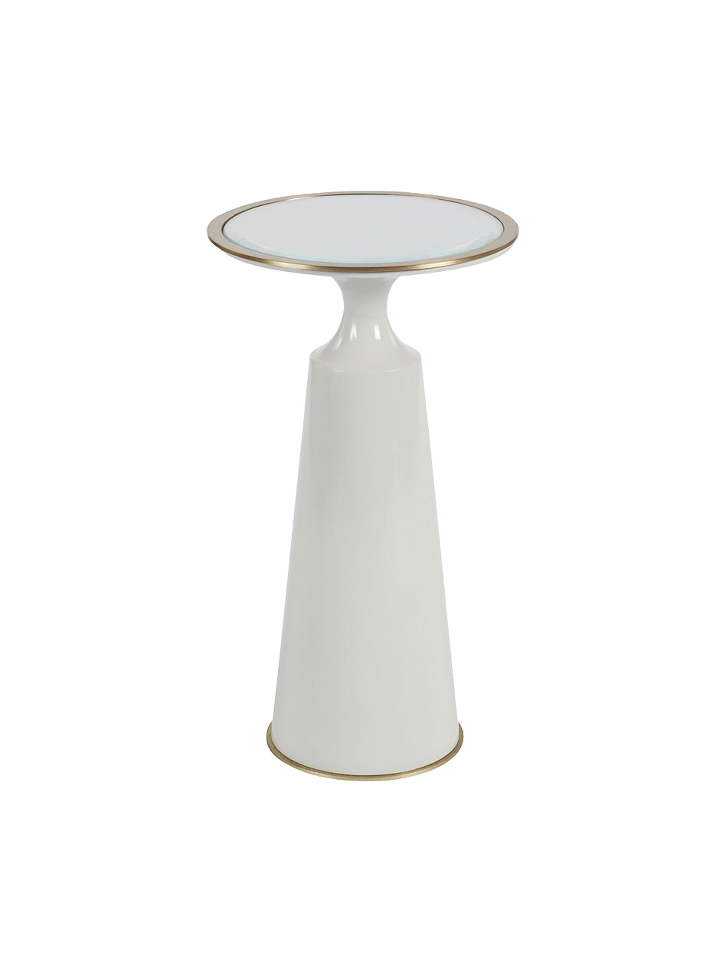 Contemporary Round Accent Table With Bronze Trim By Putnam Mason Round Accent Table Table Bronze