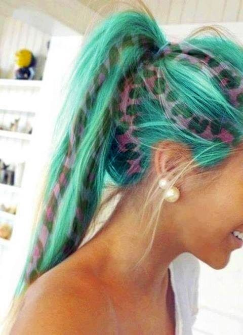 Turquoise Hair With Clip In Pink Cheetah Print Hair Extensions