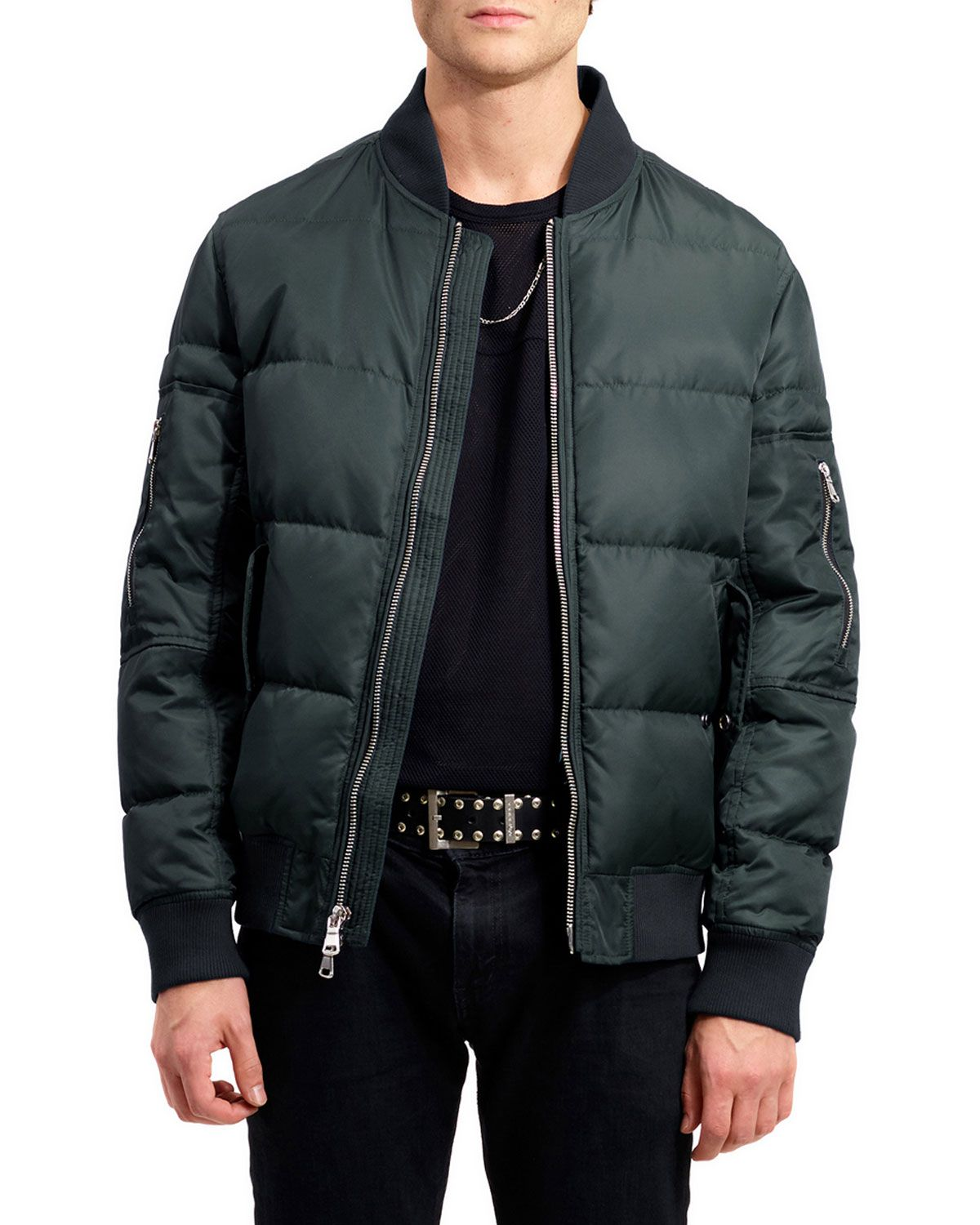 The Very Warm Men S Vandal Quilted Down Bomber Jacket Evergreen Theverywarm Cloth [ 1500 x 1200 Pixel ]