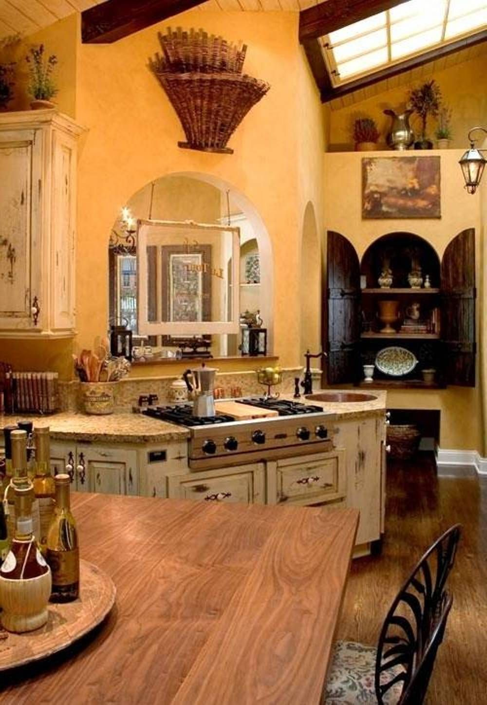 Small Tuscan Kitchen Design With Wooden Table Country