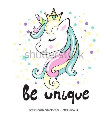 Beautiful unicorn head and inscription be unique   Unicornios ...