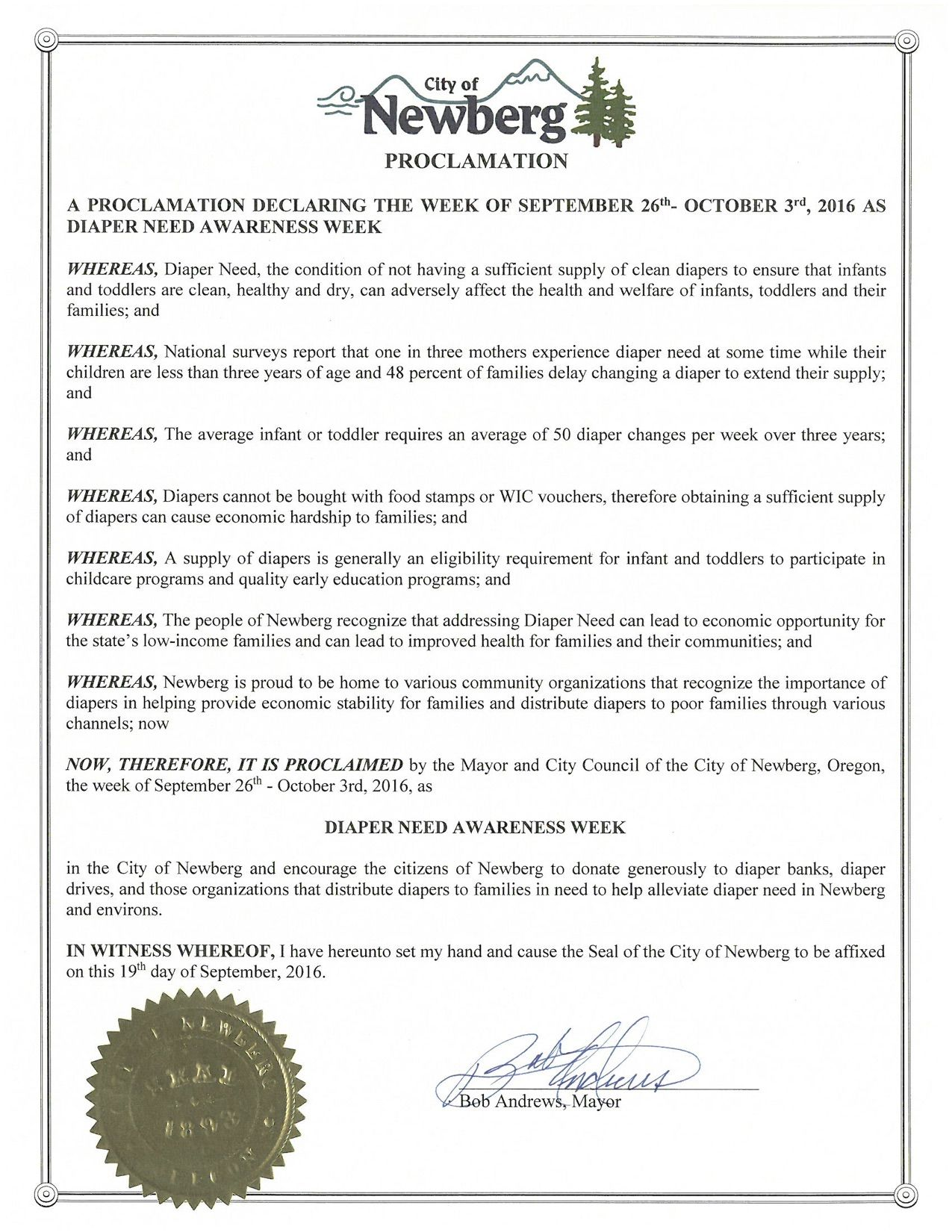 NEWBERG, OR -  Mayoral proclamation recognizing Diaper Need Awareness Week (Sep. 26-Oct. 2, 2016) #DiaperNeed Diaperneed.org
