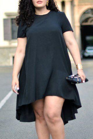 Simple Style Black Round Collar Loose Irregular Dress For Women