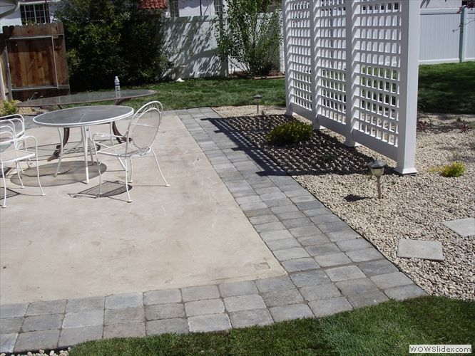 Adding Pavers To Extend Existing Patio Google Search Concrete Patio Makeover Concrete Patio