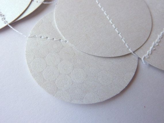 Wedding Paper Garland, White Circle Garland, Cardstock, Bridal Shower Decorations, Wedding decor