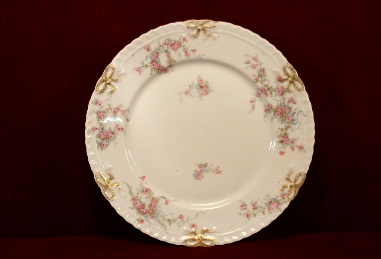 Theodore Haviland China Plate Pink Rose Pattern Gold Ribbon & Theodore Haviland China Plate Pink Rose Pattern Gold Ribbon ...