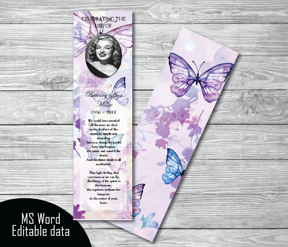 Purple Floral Butterflies Funeral Bookmark Template Memorial Bookmark Memorial Keepsake Printable Bookmark Template Microsoft Word In 2021 Funeral Program Template Memorial Keepsakes Bookmark Template