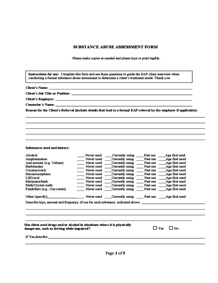 Substance Abuse Assessment Form  Addictions    Social