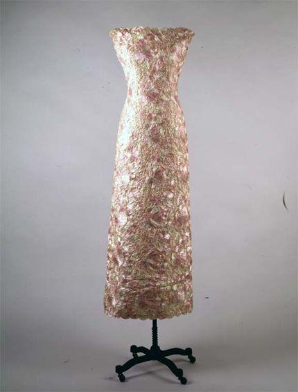 Pink and White Lace Dress - Oleg Cassini American 1961 Raffia ...