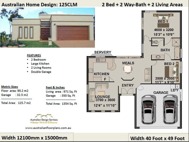 2 Bedroom 2 Car Garage House Plan Small 2 Bed Floor Plan Etsy House Plans Australia Garage House Plans Ranch Style House Plans