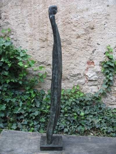 Bronze #sculpture by #sculptor Jiří Netík titled \u0027Muse (Bronze