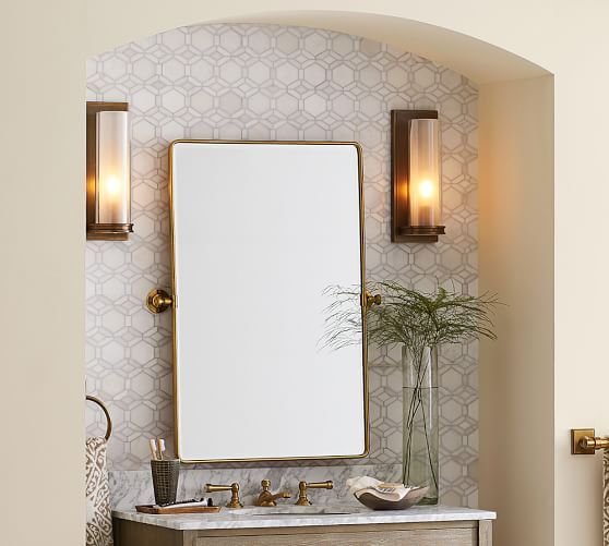 Omit Included Mirror In Master Bath   Hand Vintage Style Pivot Mirrors    Sconces Flanking