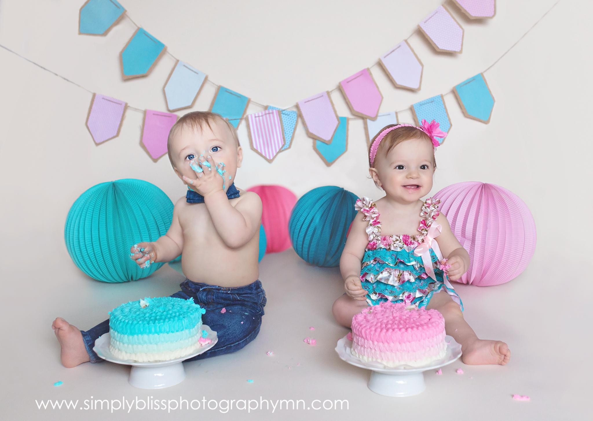 Twins Cake Smash Boy Girl Twins One Year Old Twins
