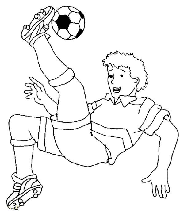 A Soccer Player Doing A Bicycle Kick Coloring Page Download