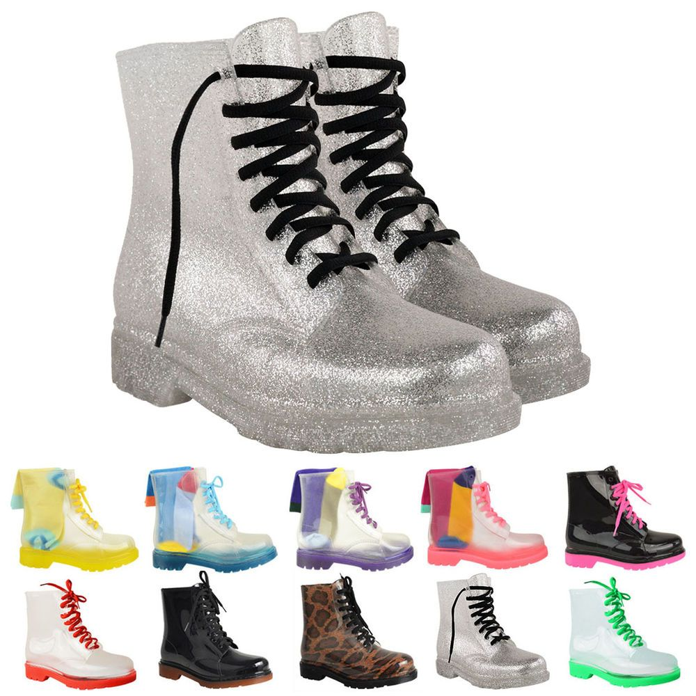 WOMENS LADIES RETRO CLEAR JELLY BOOTS FESTIVAL WELLIES LOW ANKLE RAIN SHOES SIZE