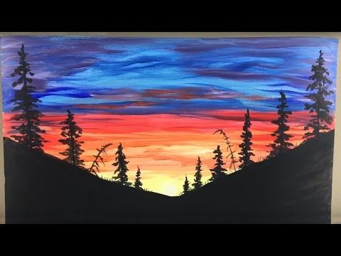 Painting A Night Sky Atop A City Landscape With Acrylics In 10 Minutes Youtube Night Sky Painting Silhouette Painting Sky Painting