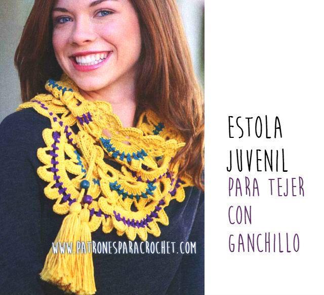 Patrones de chalina tejida al crochet | Accesorios de Invierno ...