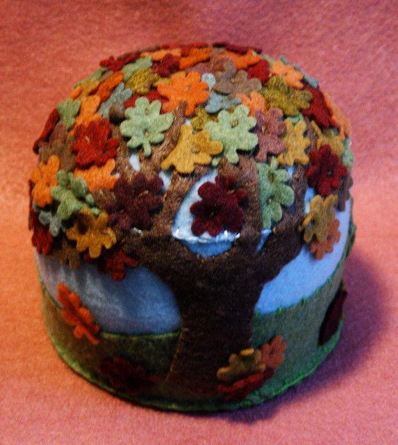 Large falling leaves pincushion, via Flickr.