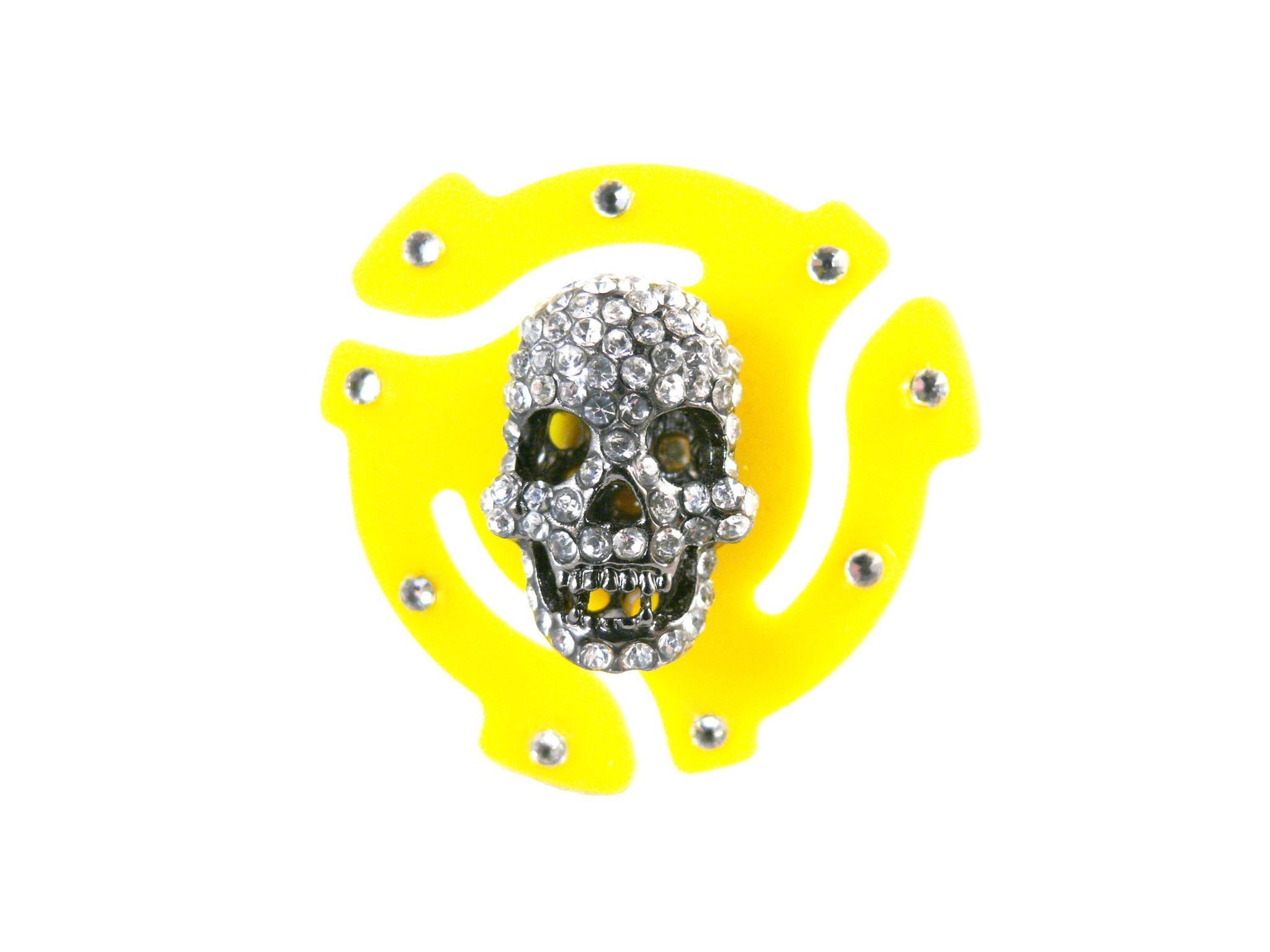 45 RPM Adapter Crystal Skull Adjustable Ring