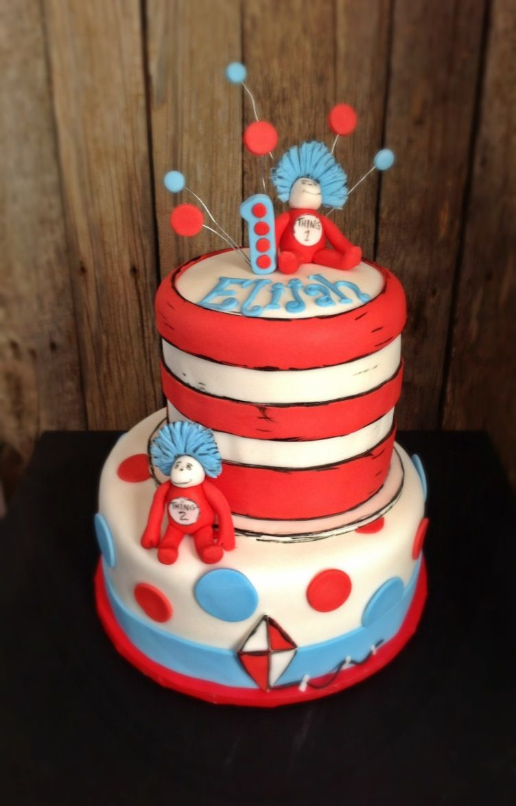 Cat & the Hat Cake, 1st boy birthday, 1st birthday