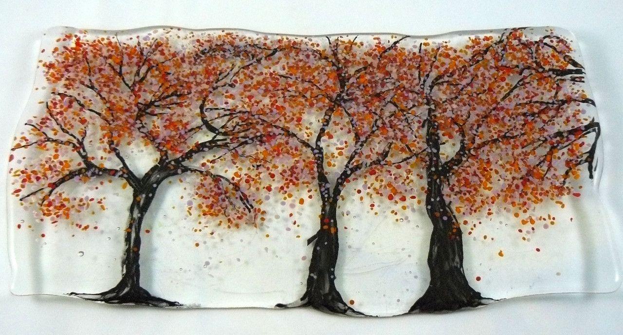Handmade Fused Glass Fall Trees Artwork by DLC Glass Studio LLC $50.00