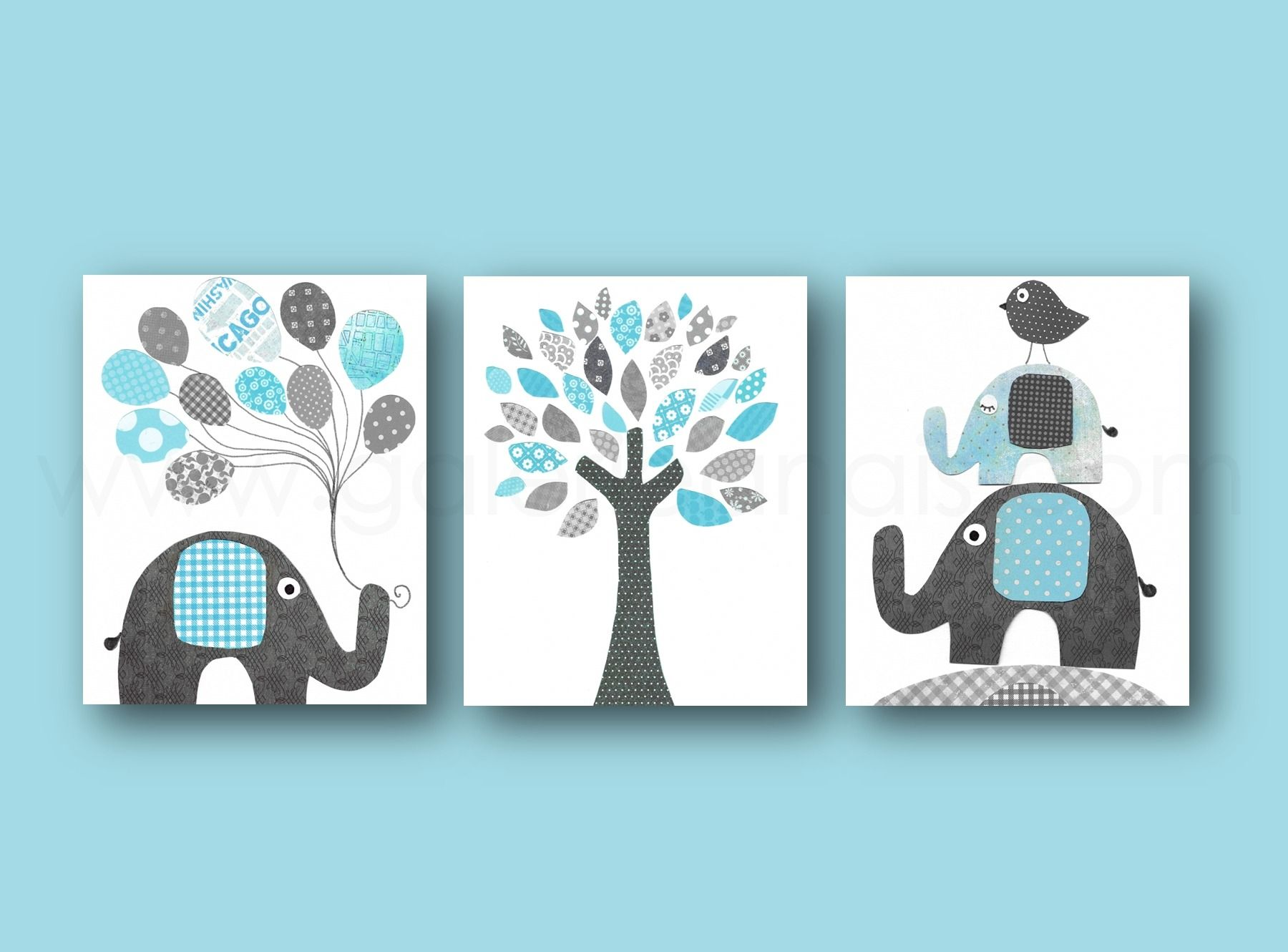 Elephant nursery wall art print mom baby dad by rizzleandrugee - Baby Art
