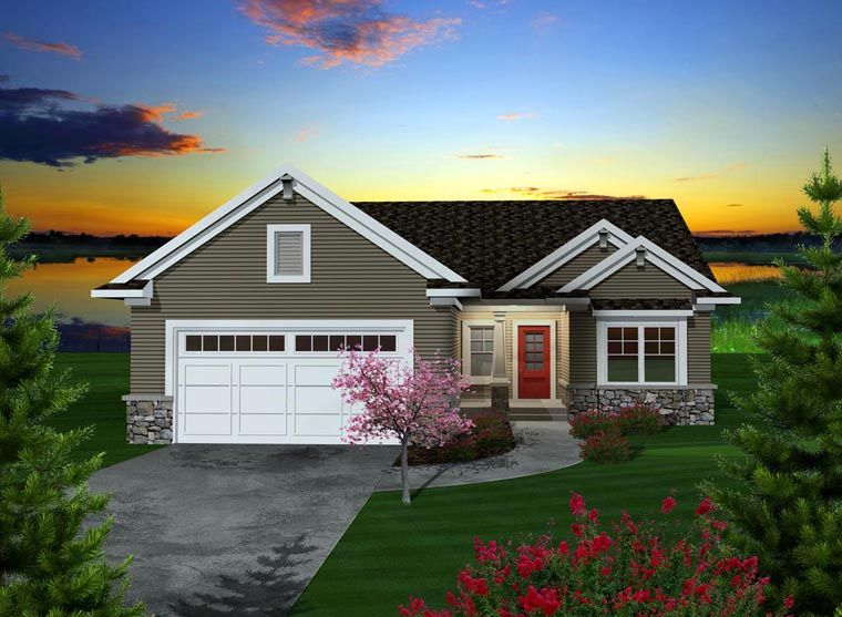 Ranch Style House Plan 97318 with 2 Bed 2 Bath 2 Car