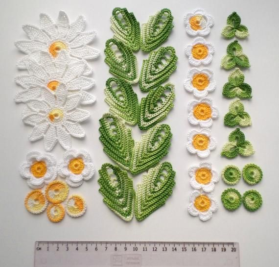 Crochet flowers and leaves green white yellow Irish crochet lace applique Set of 35