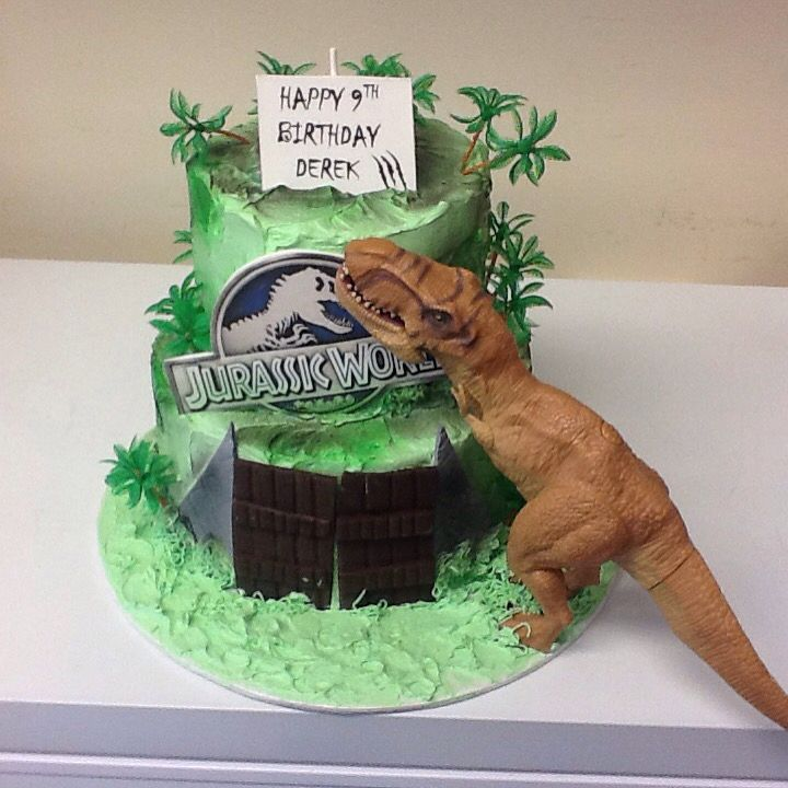 Two Tier Jurassic World Theme Cake Birthday Favors Ideas
