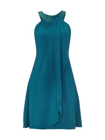 Mit Ziersteinen Und Collierkragen In Cocktailkleid Luxuar Blau xrdCoBe