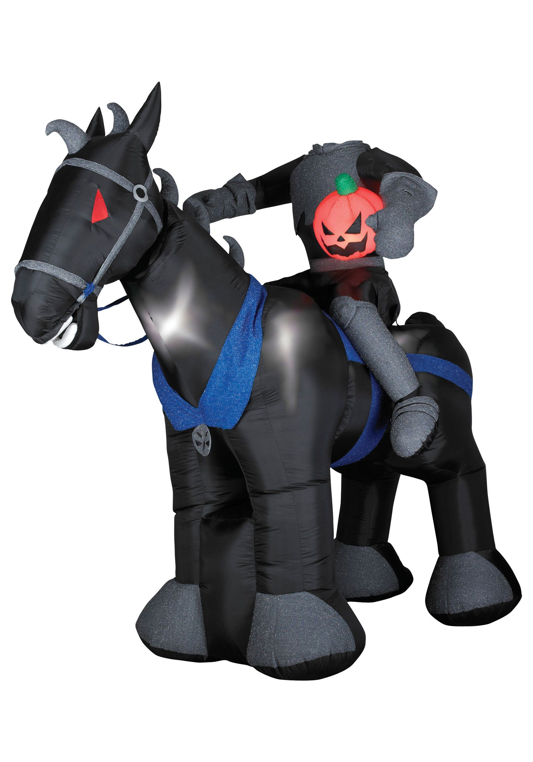 scary outdoor halloween blow ups animated blow up headless horseman