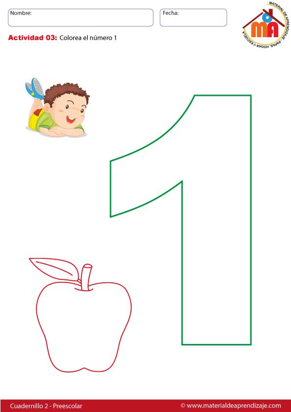 El número 1 - 03 preescolar | fichas numeros | Pinterest ...