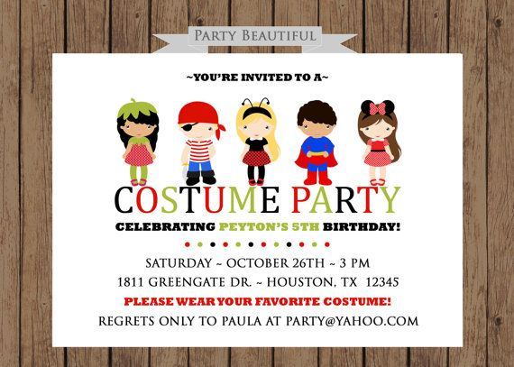 birthday costume party invitations Minimfagencyco