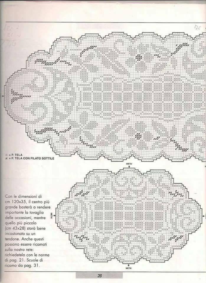 Schema Centro Ovale Needlework Filet Crochet Filet Lacis