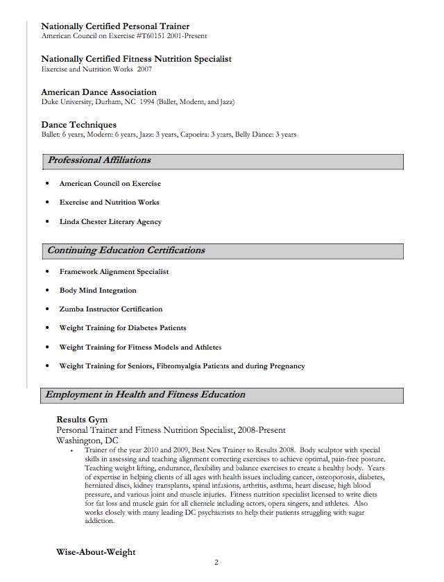 Zumba Instructor Resume Samples Examples Resume Cv