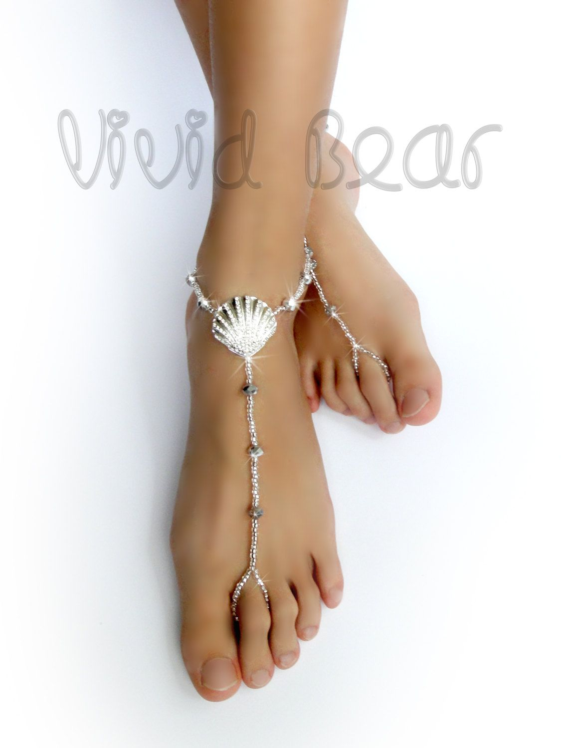 Seashell Barefoot Sandals Silver Foot Jewelry Rhinestone Seashell