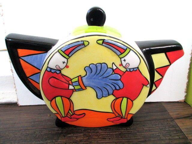 Rare Old Ellgreave Pottery Lorna Bailey Circus Clowns Tea Pot.