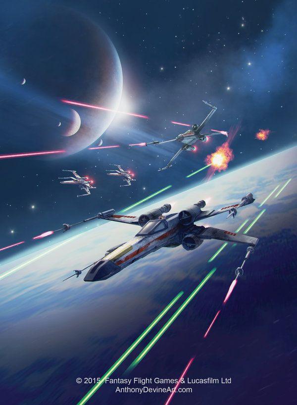 STAR WARS X-wing Squadron by AnthonyDevine. #StarWars #Art #gosstudio .★ We recommend Gift Shop: http://www.zazzle.com/vintagestylestudio