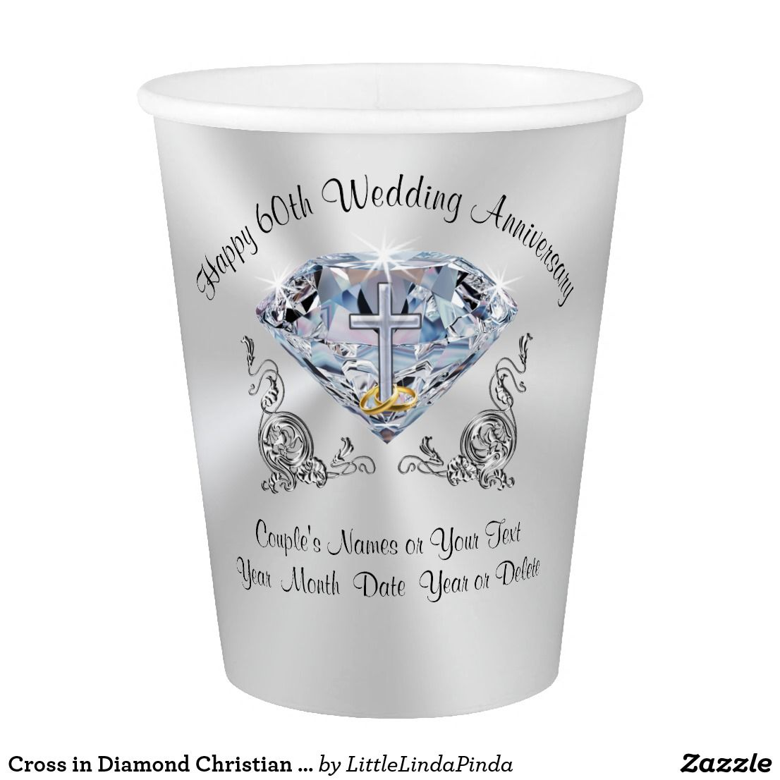 Cross in Diamond Christian Wedding Anniversary Cup