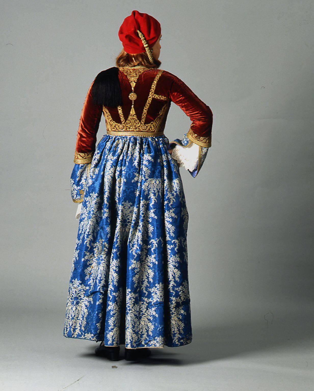 """Amalia"" costume ensemble belonging to the Metaxas family of Nafplion, late 19th c. Peloponnesian Folklore Foundation TEXMEDIN Digital Library"