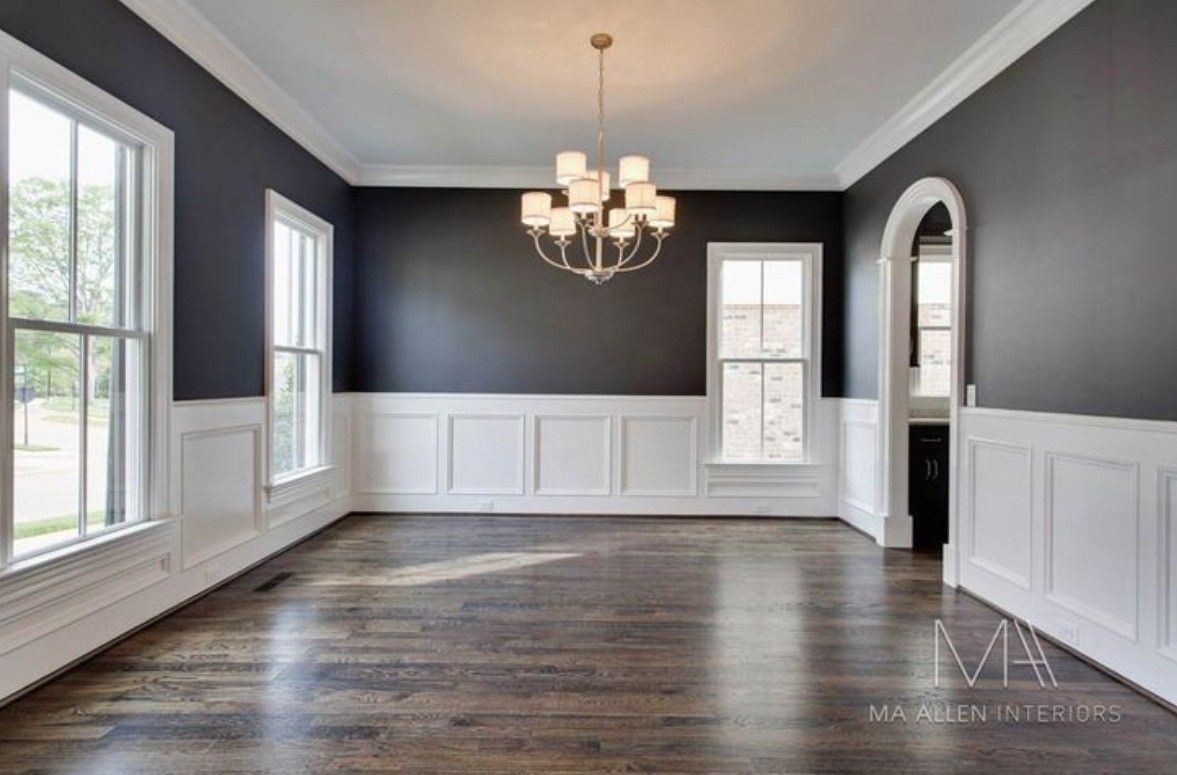 Dining Room Painted Wood Paneling Modern Neutral Colour Pallet