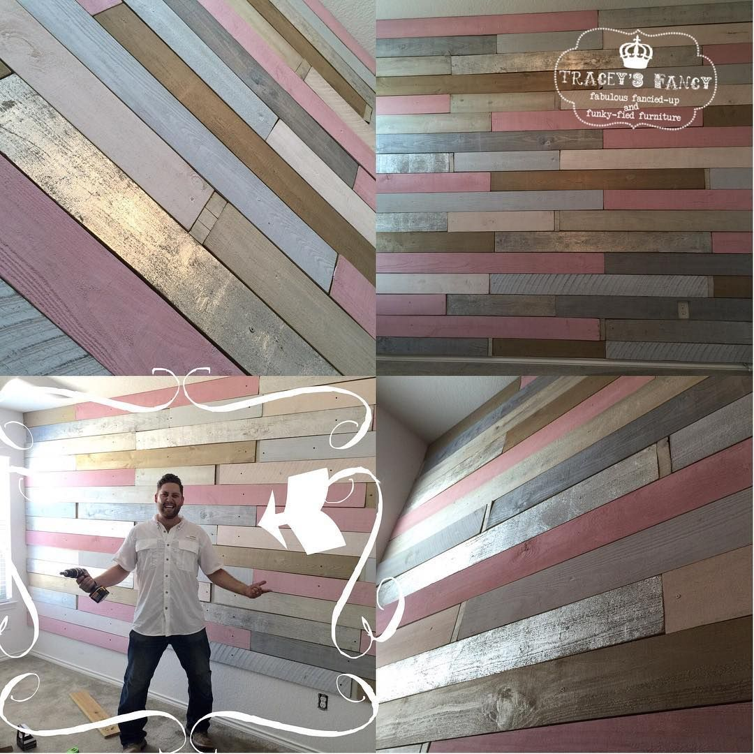 Pink Pallet Accent Wall: €�PINK~CREAM~SILVER~GOLD!!! Our Metallic Wood Plank Wall