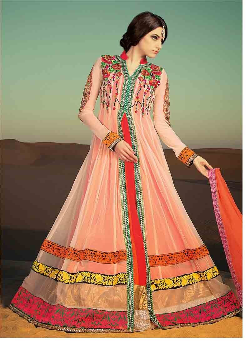 Dresses sarees suits lengha anarkali lehenga pink anarkali lehenga - Off White And Pink Net And Faux Georgette Abaya Style Churidar Kameez Online Shopping