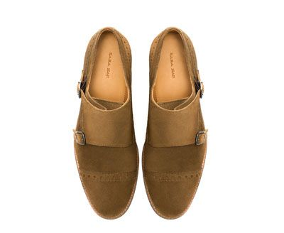 Suede Double Monk Strap Shoe Zara Shoe Game Shoes